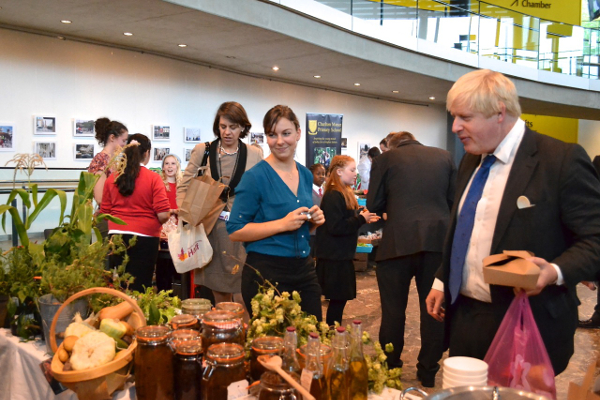 Boris Johnson, Mayor of London. Schools Marketpace, City Hall.